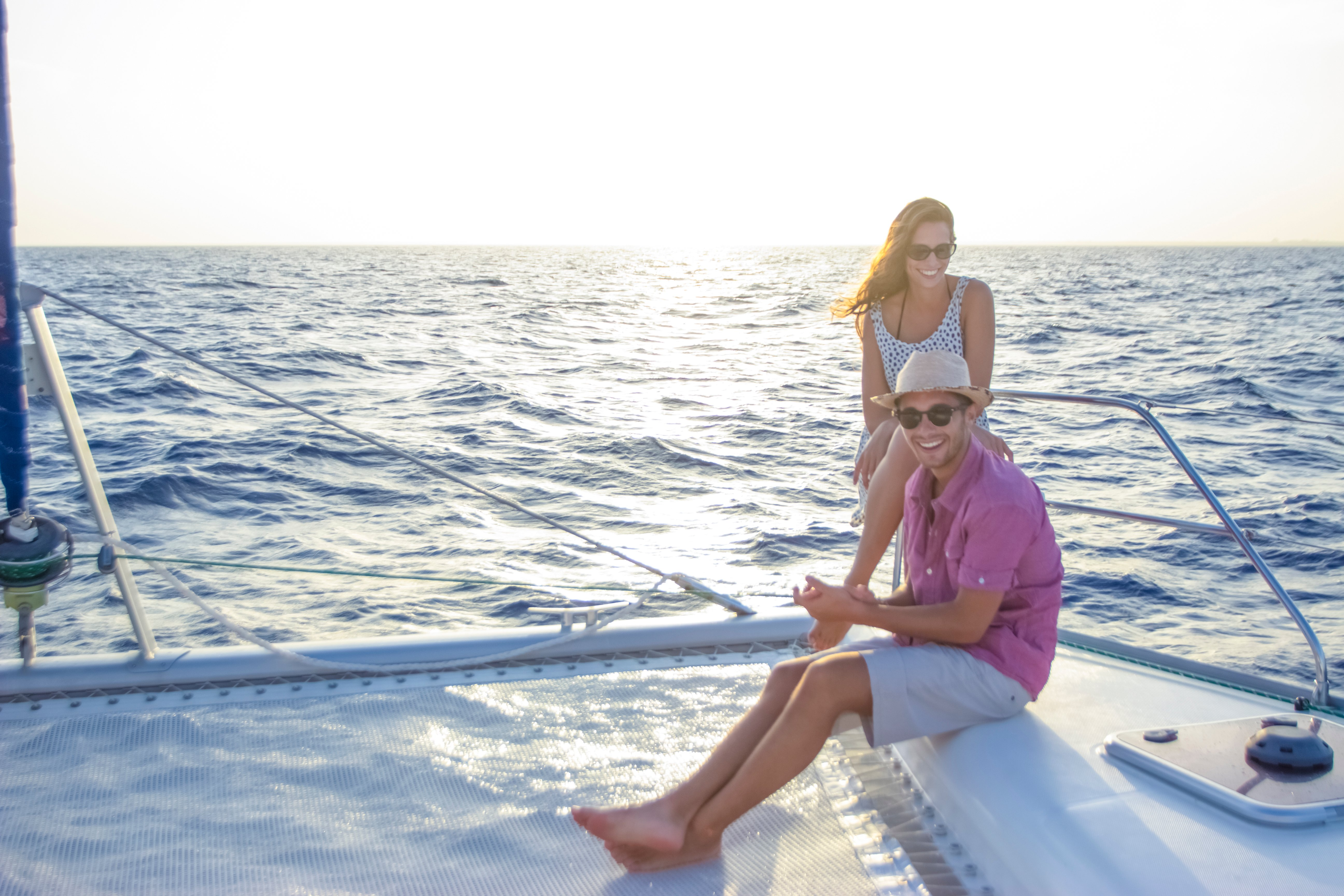 Couple vacationing in cancun on a boat
