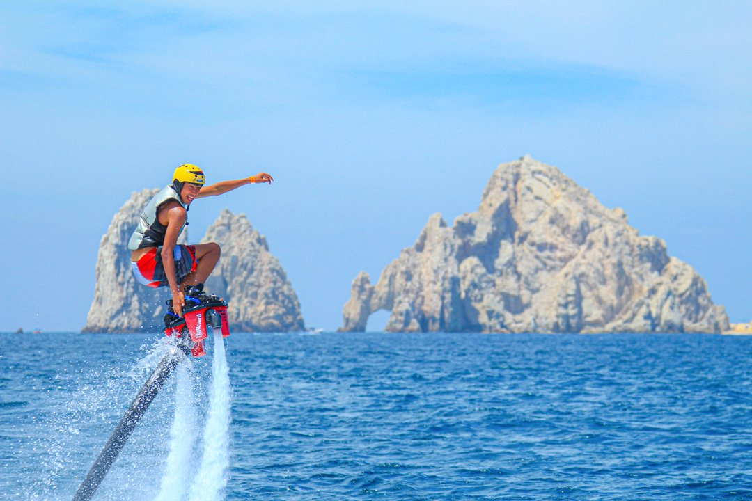 flyboard at the arch in cabo san lucas baja california mexico