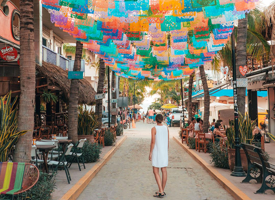 Colorful street in Sayulita Nayarit Mexico