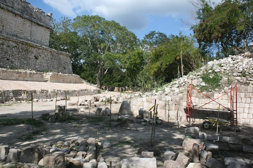 Recent restoration of the ball courts adjacent to Casa Colorada at Chichen Itza, Mexico