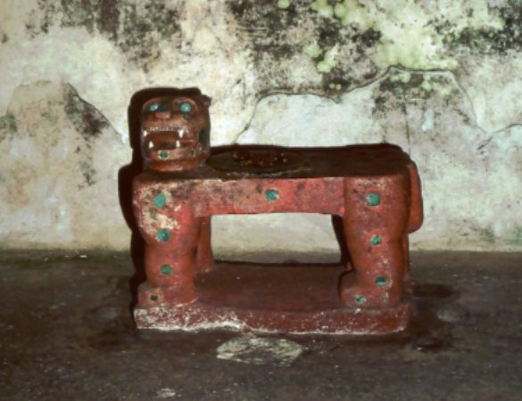 The jaguar throne inside the Temple of Kukulcán in Chichen Itza is inlaid with jade.
