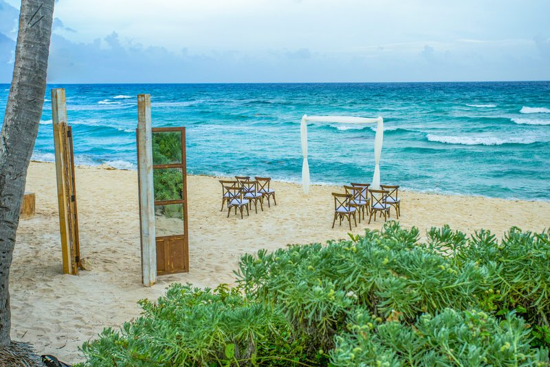wedding ceremony setup on the beach