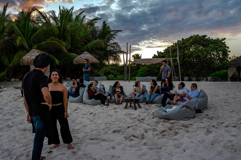 group socializing at punta venado beach club