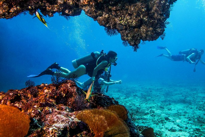 Scuba divers exploring in the Marieta Islands