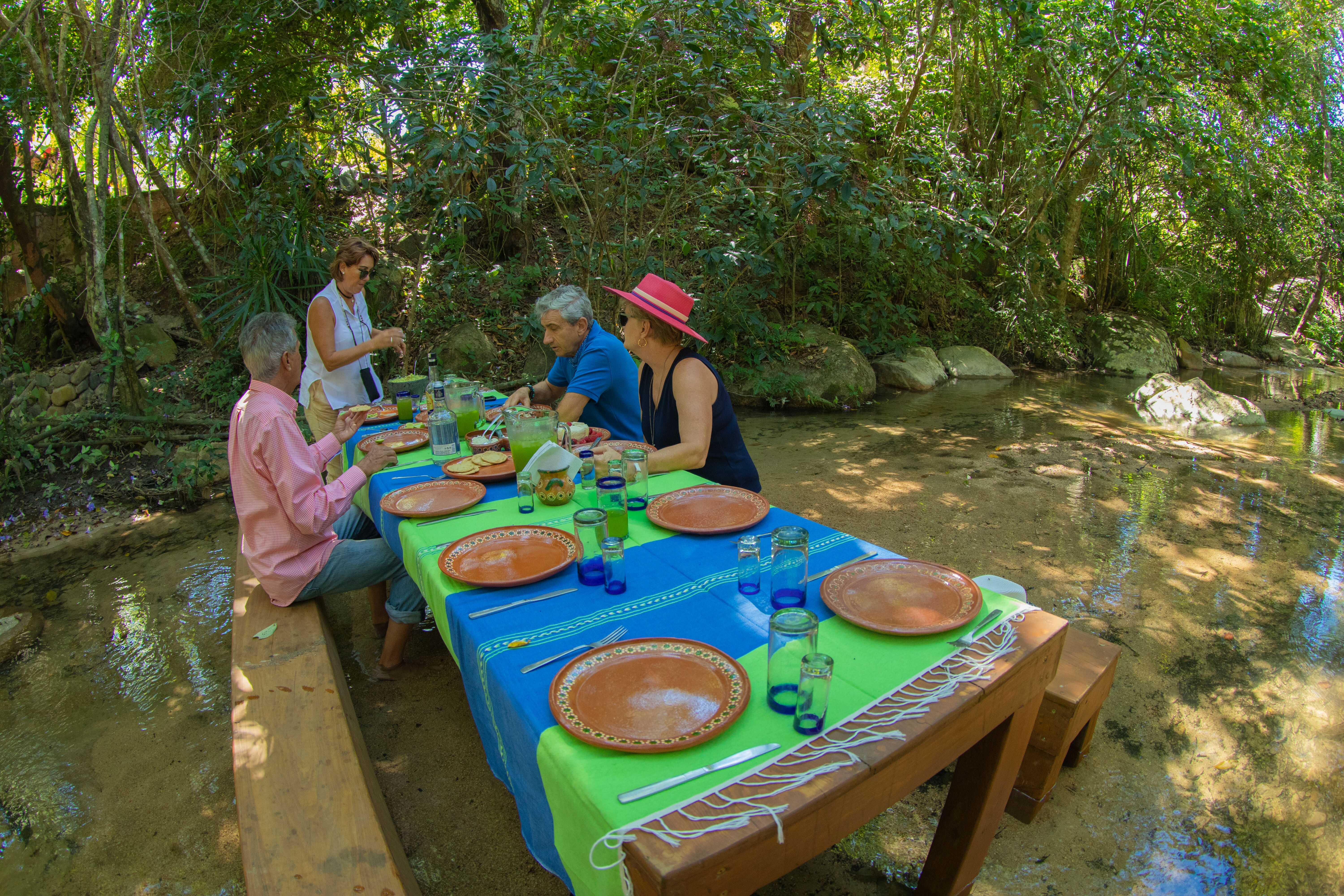 cultural food tour group at a table