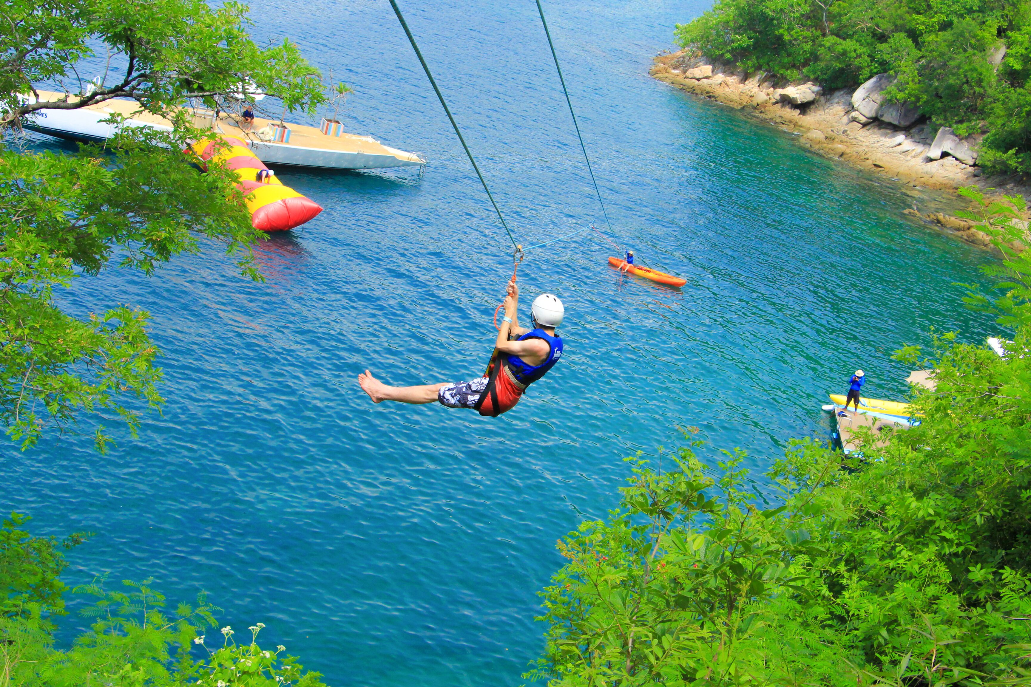 ziplining over water in puerto vallarta