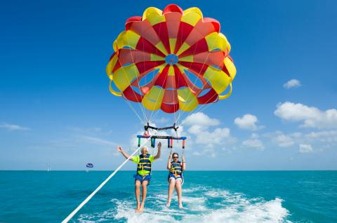two people parasailing in puerto vallarta